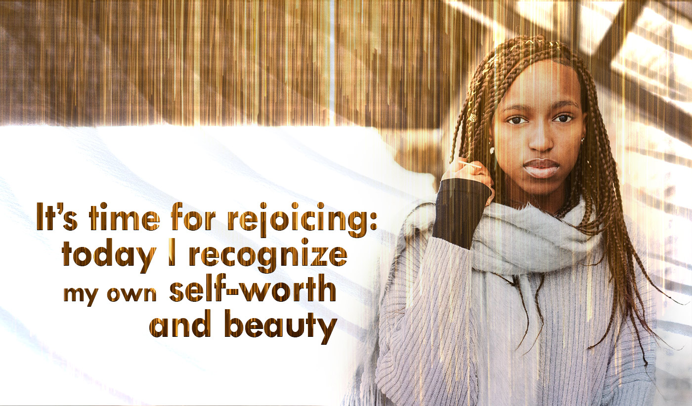 daily inspirational quote image: beautiful young woman with braids looking straight up and looking proud