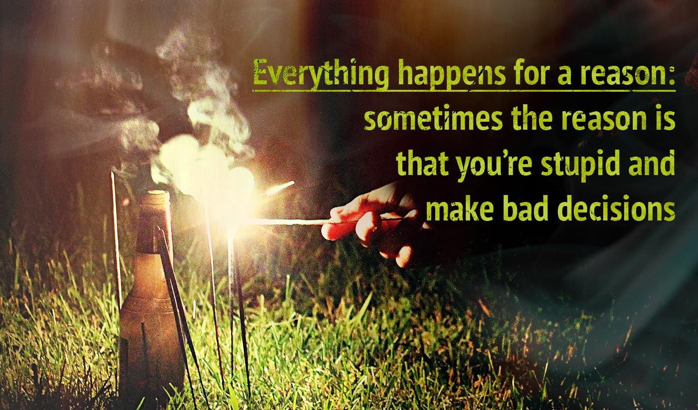 daily inspirational quote image: a hand lighting a bunch of sparklers all around a beer bottle at night