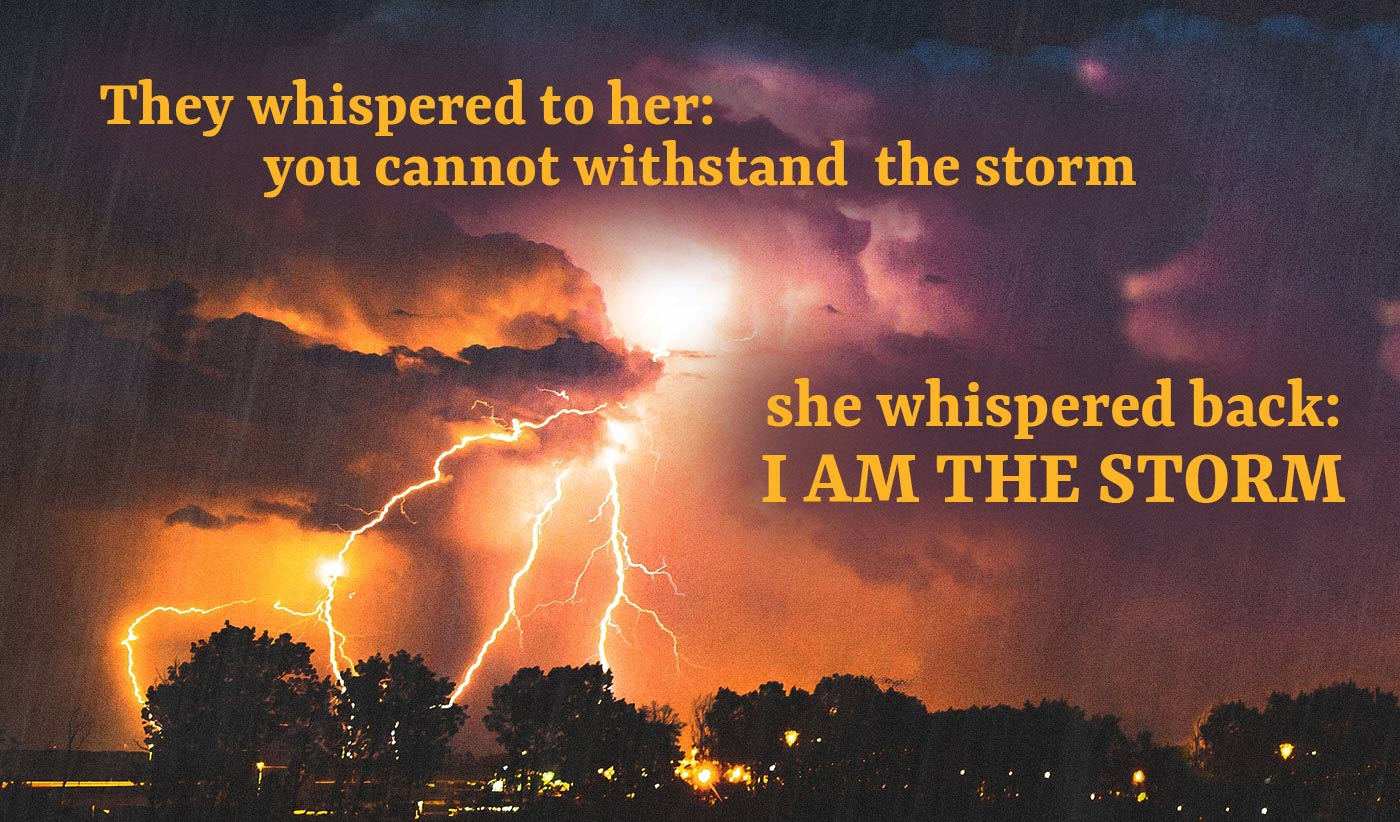 daily inspirational quote image: an impressive night storm, with lightening and fiery light