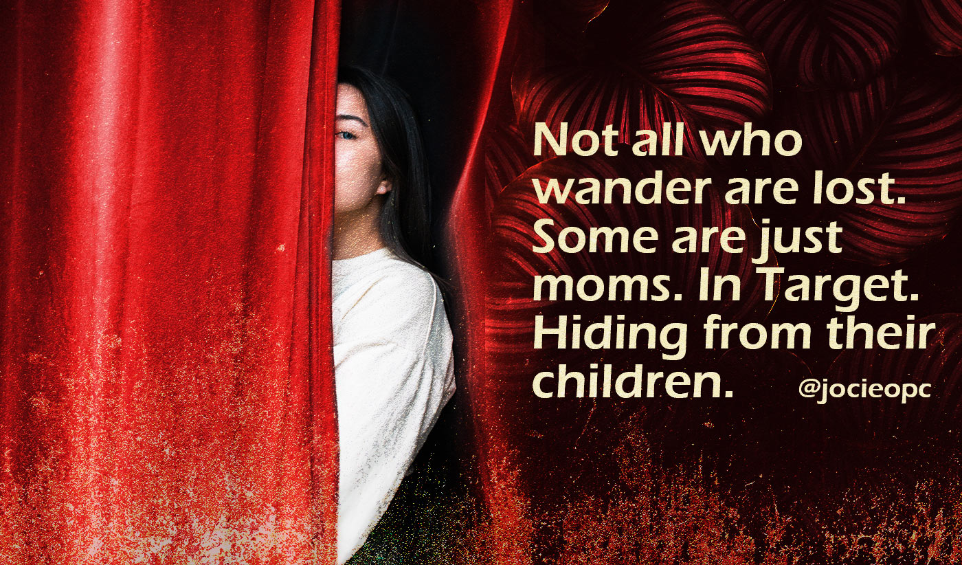 daily inspirational quote image: woman hiding behind a red curtain