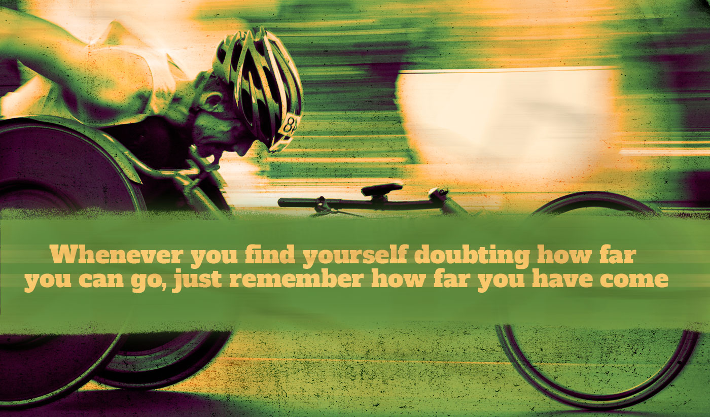 daily inspirational quote image: a man competing in a professional wheelchair race