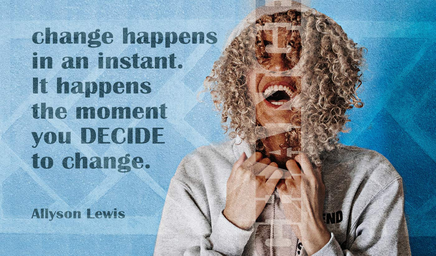 daily inspirational quote image: woman with blond and curly hair laughing over a blue background, wearing a hoodie