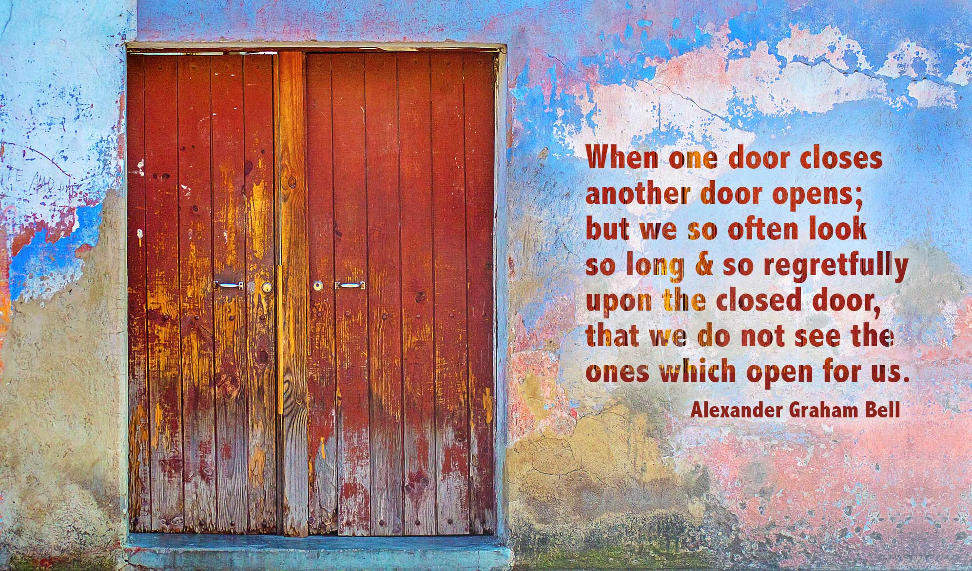 daily inspirational quote image: very colorful wall with multicolored door