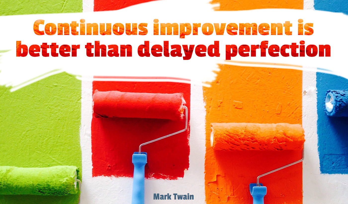 daily inspirational quote image: colorful paint rollers painting different colors bands on a wall