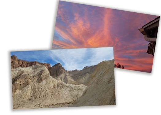 2 snapshots: death valley and a sunset sky