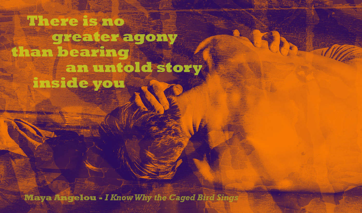 daily inspirational quote image: man curled up on the floor, with orange AND PURPLE TONES