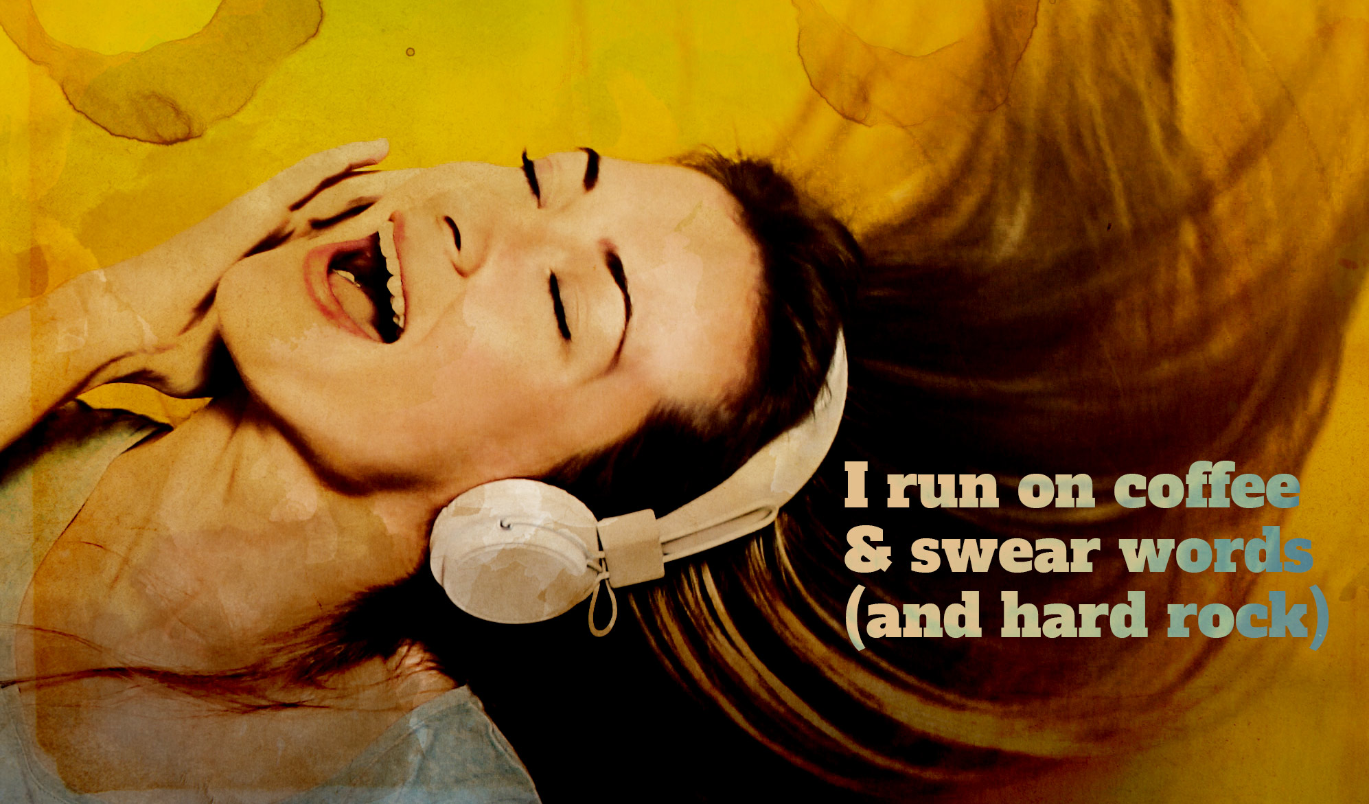 daily inspirational quote image: girl shaking her hair, while listening to music