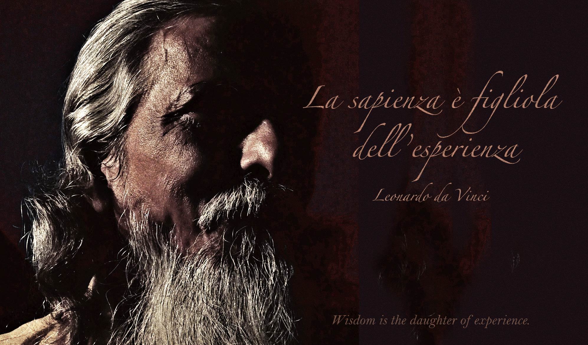 daily inspirational quote image:close up on the face of an older, bearded man, almost completely swallowed by shadows