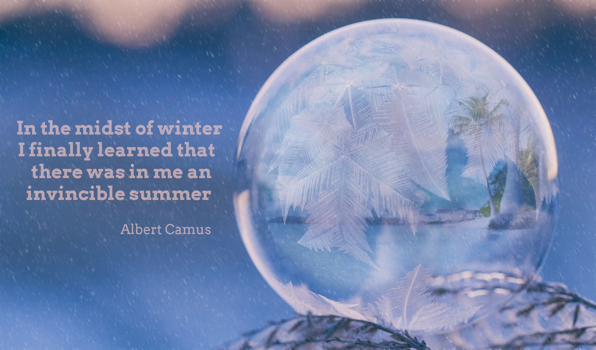 daily inspirational quote image: a frozen globe, reflecting a sunny beach during a snowfall