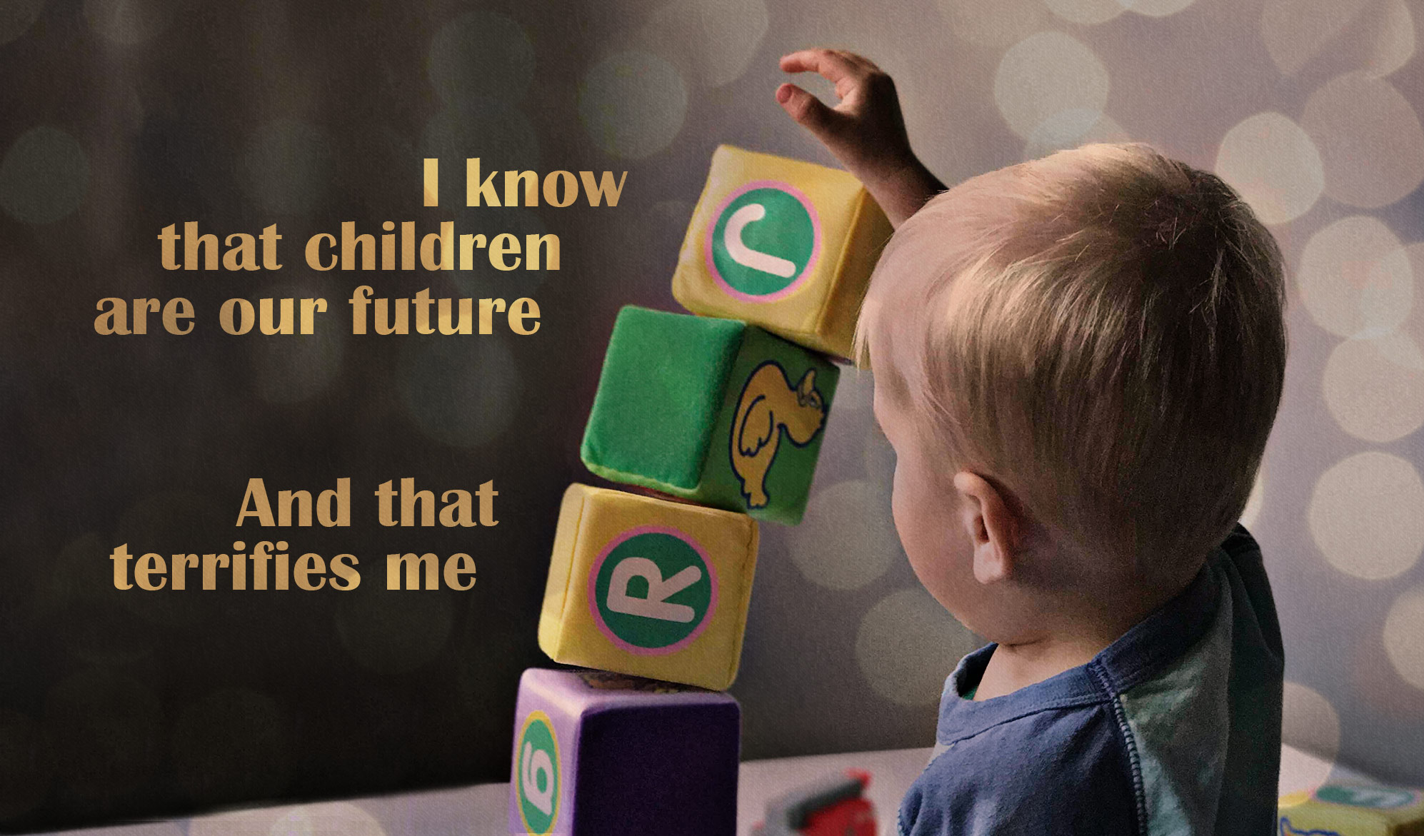 daily inspirational quote image: a young child with a collapsing tower of soft blocks