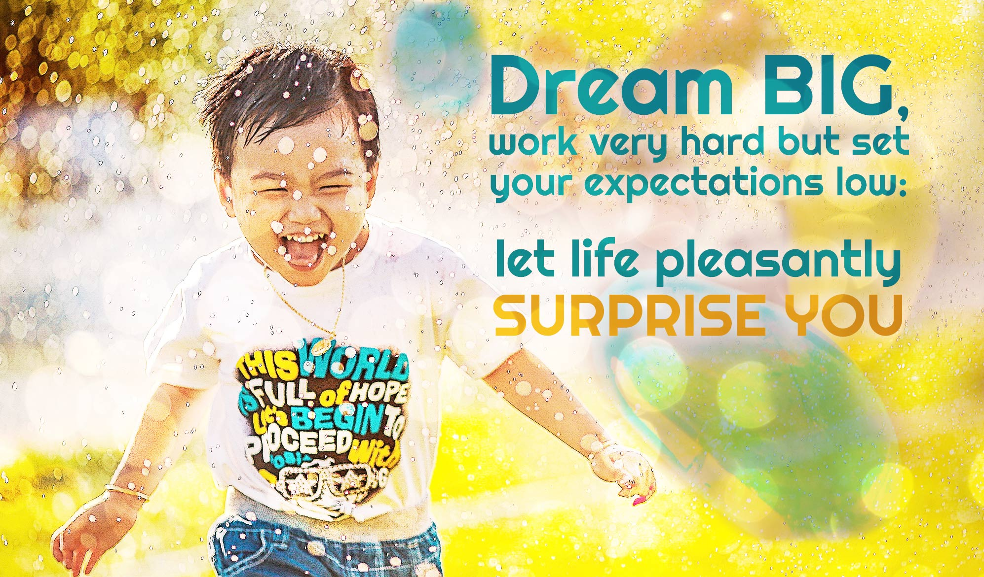 daily inspirational quote image: a happy little boy running in spraying water