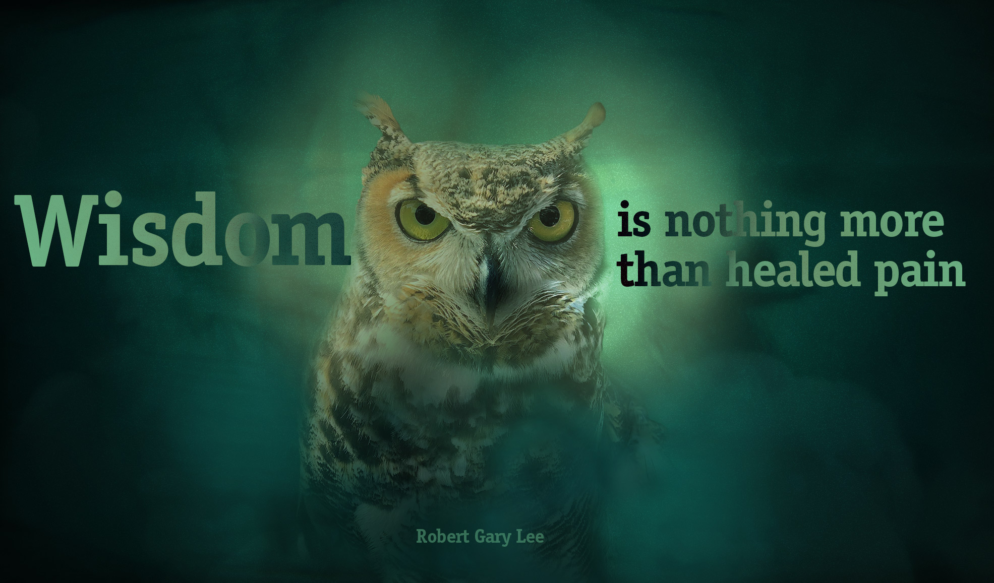 daily inspirational quote image: an owl, in front a blue turquise, blurred background, showing shadows and smoke