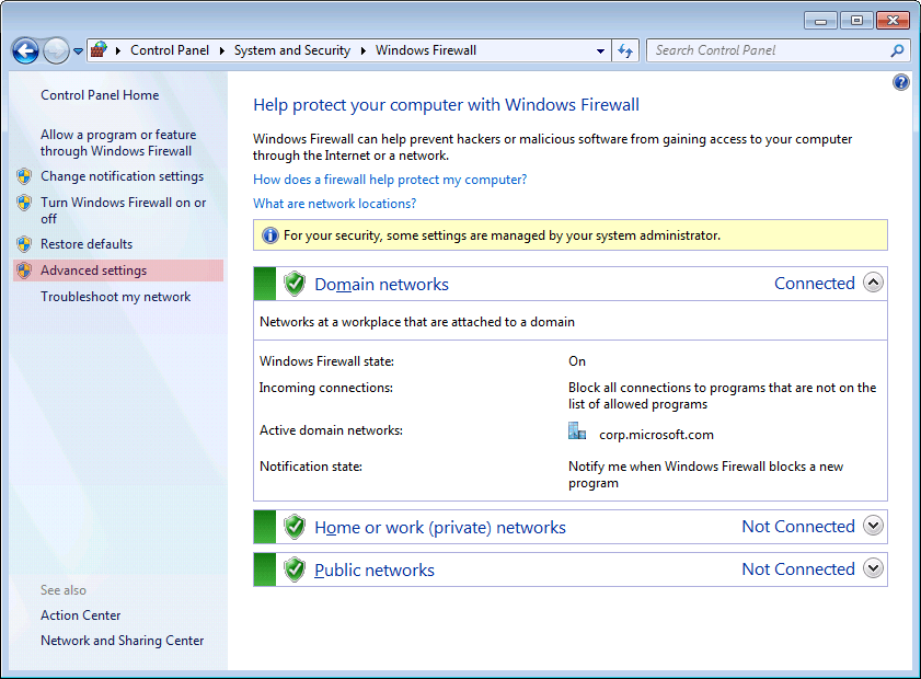 Microsoft Windows 7 Firewall settings