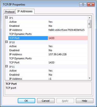 SQL Server 2008: TCP/IP Properties