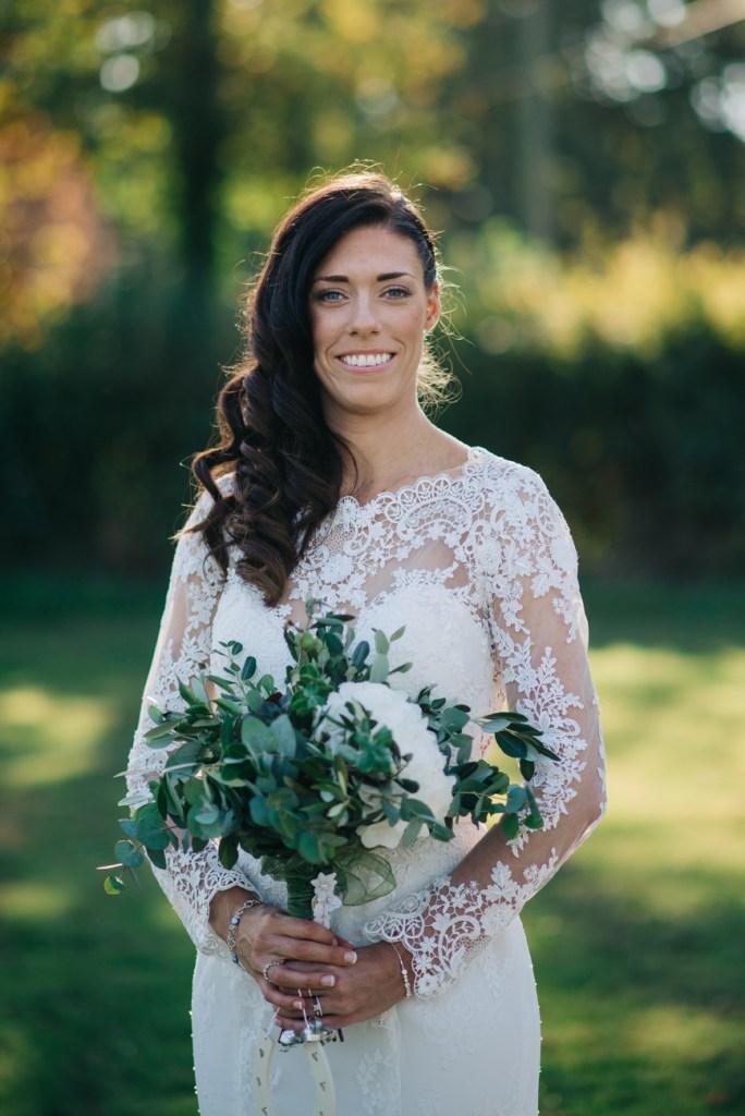 Close up bridal portrait including flowers
