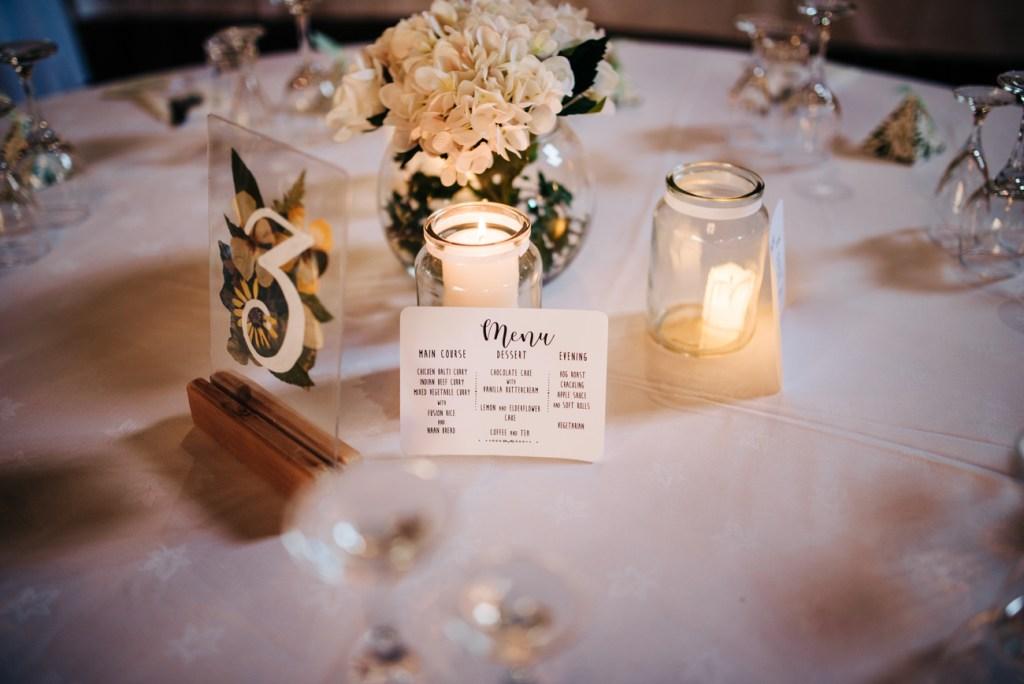 Menu choices at a kent wedding