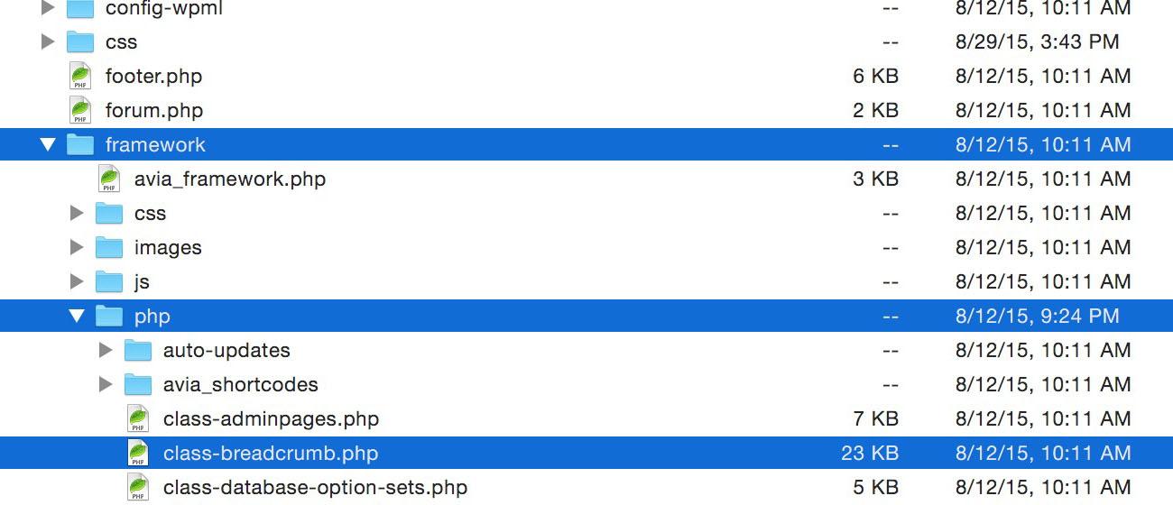 Enfold Breadcrumbs Remove Blog (1): class-breadcrumb.php file.