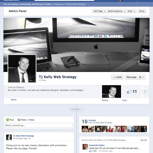 A screenshot of my Facebook page.