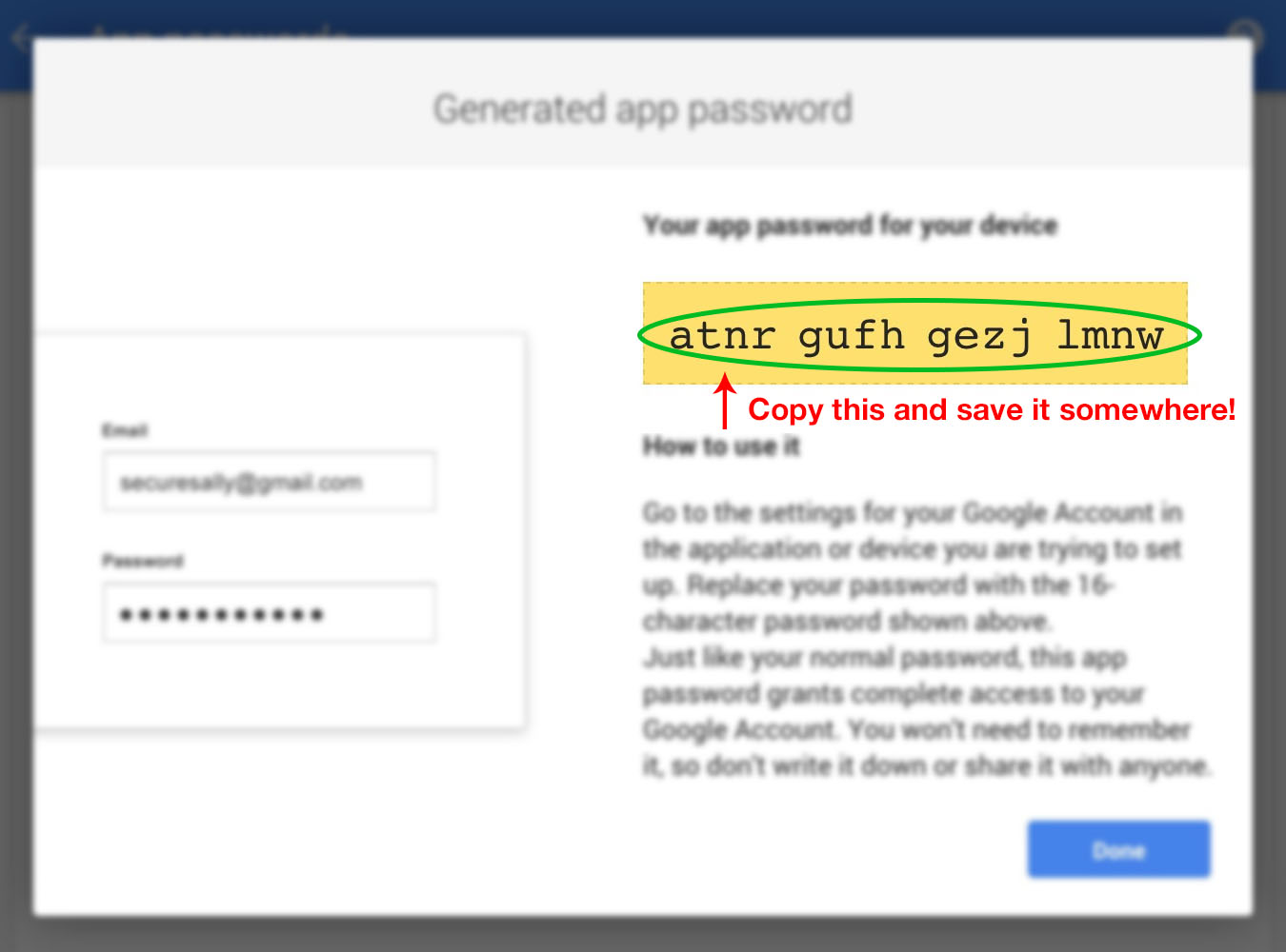 Gmail GoDaddy email forward (10): Generated App password.