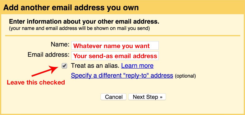 Gmail GoDaddy email forward (3): Add account you own.