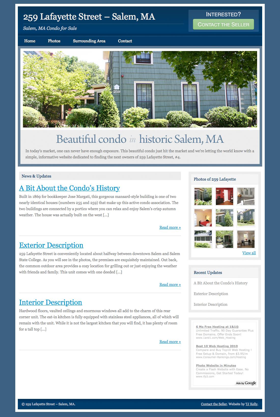 A screenshot of 259 Lafayette Street property website.