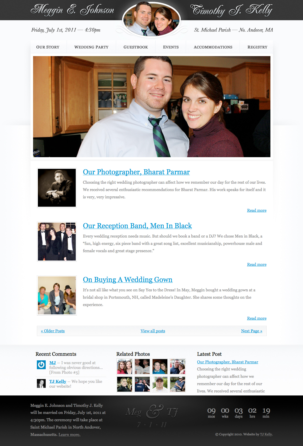 A screenshot of Meg & TJ's Wedding website.