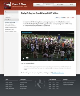 Portfolio item: UMass Band Parents - Update video.