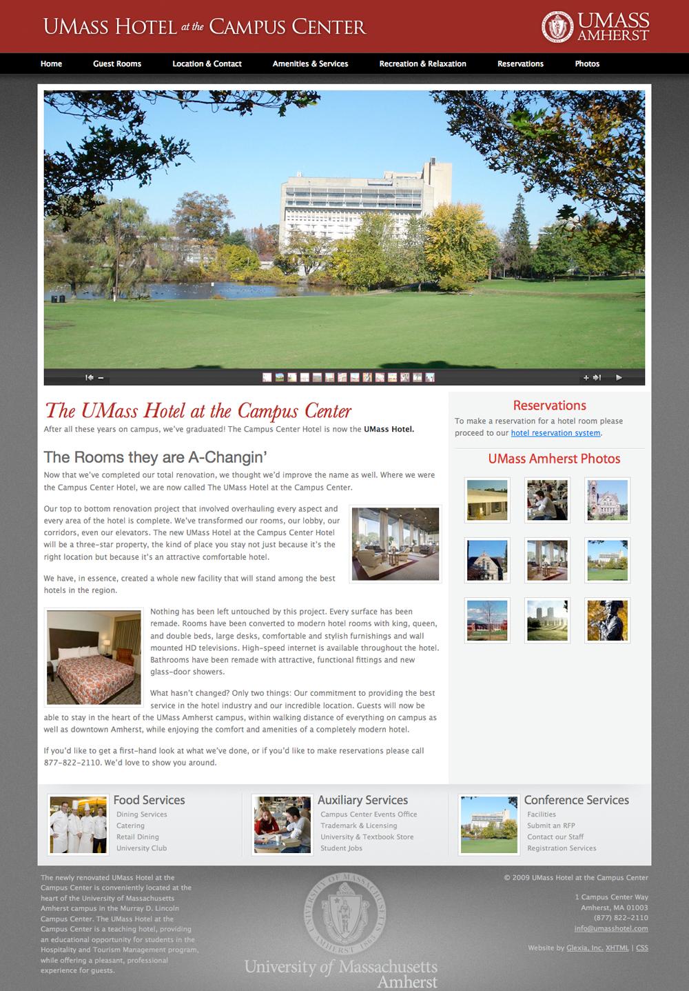 A screenshot of the UMass Hotel website.