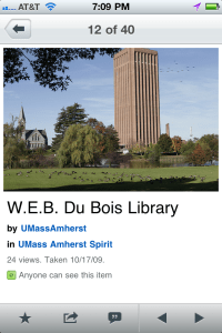 An image of UMass Amherst iPhone app, Flickr screen for comparison.