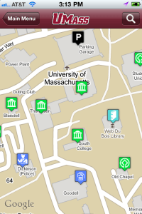 An image of UMass Amherst iPhone app, Campus Map screen.