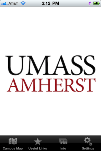 An image of UMass Amherst iPhone app, Welcome screen.