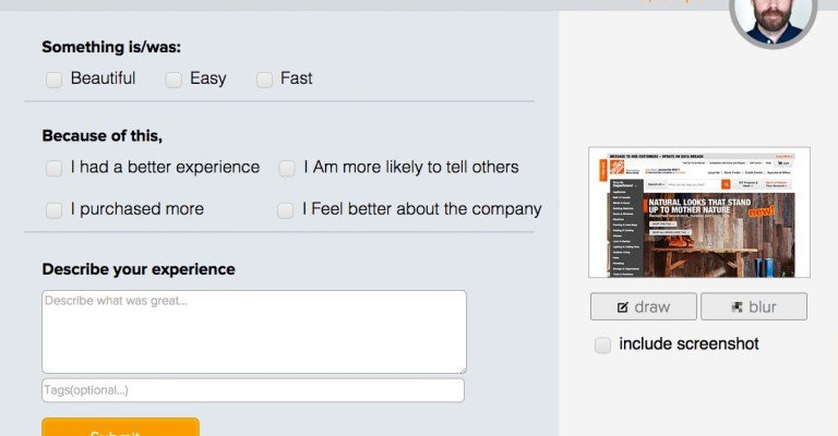 Shout User Testing form: Shout out (positive feedback).