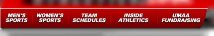 UMass Athletics Website main page navigation menu