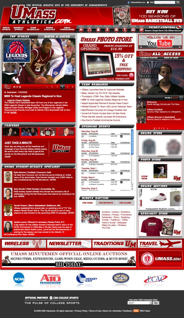 UMass Athletics Website main page
