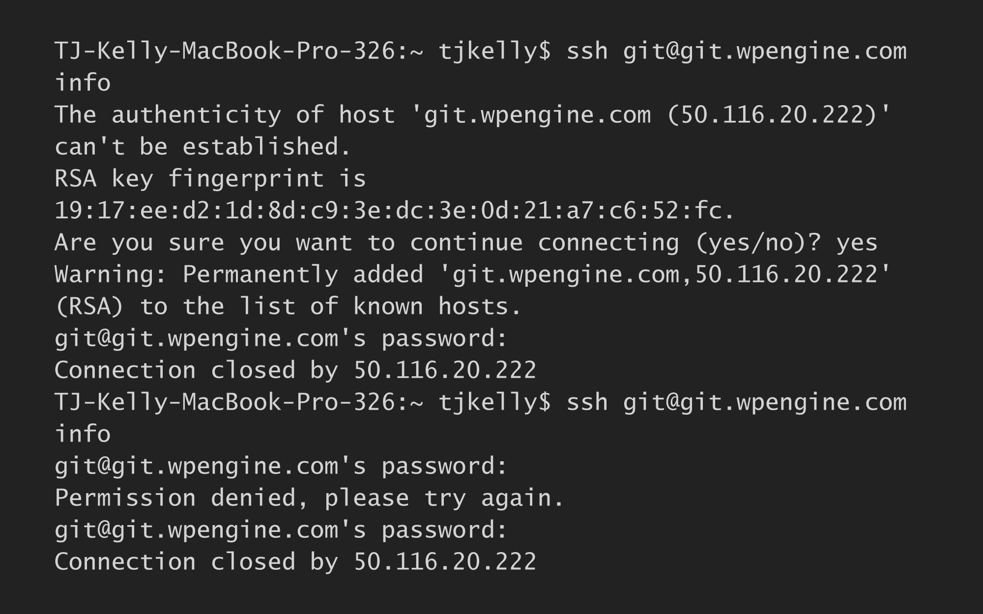 WP Engine Git Password Terminal Console.