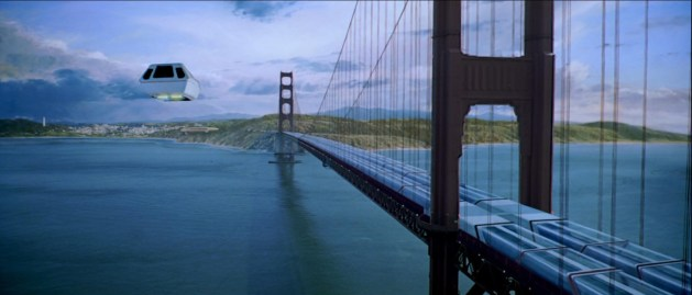Kirk's shuttle zips past the Golden Gate Bridge to Starfleet Headquarters.