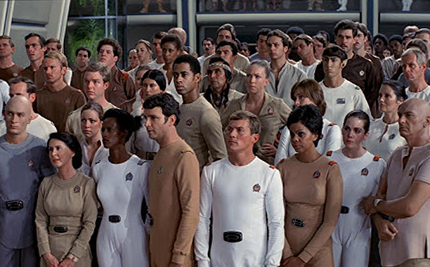 "Fans populate the extras in this recap scene from ""Star Trek: The Motion Picture."""