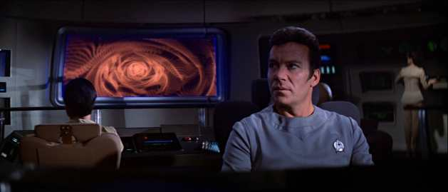 "A time-distorting wormhole sneaks up on Kirk faster than the plot in ""Star Trek: The Motion Picture."""