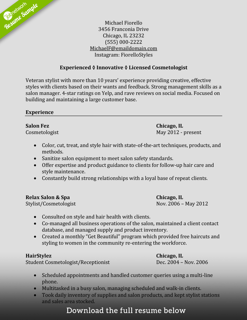 Cosmetology Student Resume : cosmetology, student, resume, Write, Perfect, Cosmetology, Resume, (Examples, Included)