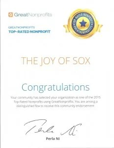 The Joy of Sox, a nonprofit providing joy to the homeless with new socks, was honored as a 2015 Top-Rated by GreatNonprofits. www.TheJoyOfSox.org
