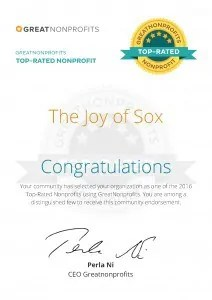 The Joy of Sox, a nonprofit providing new socks for the homeless, received the 2016 TOP-RATED NONPROFIT award from GreatNonprofits.