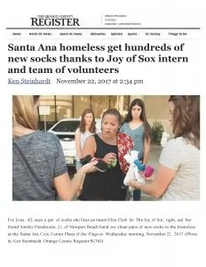 The Ocean County REGISTER covered the story of Eliza Clark, a senior at Villanova University, and the Chief Sock Intern for The Joy of Sox®, organizing 11 volunteers to pass out 597 pairs of new socks to the homeless.
