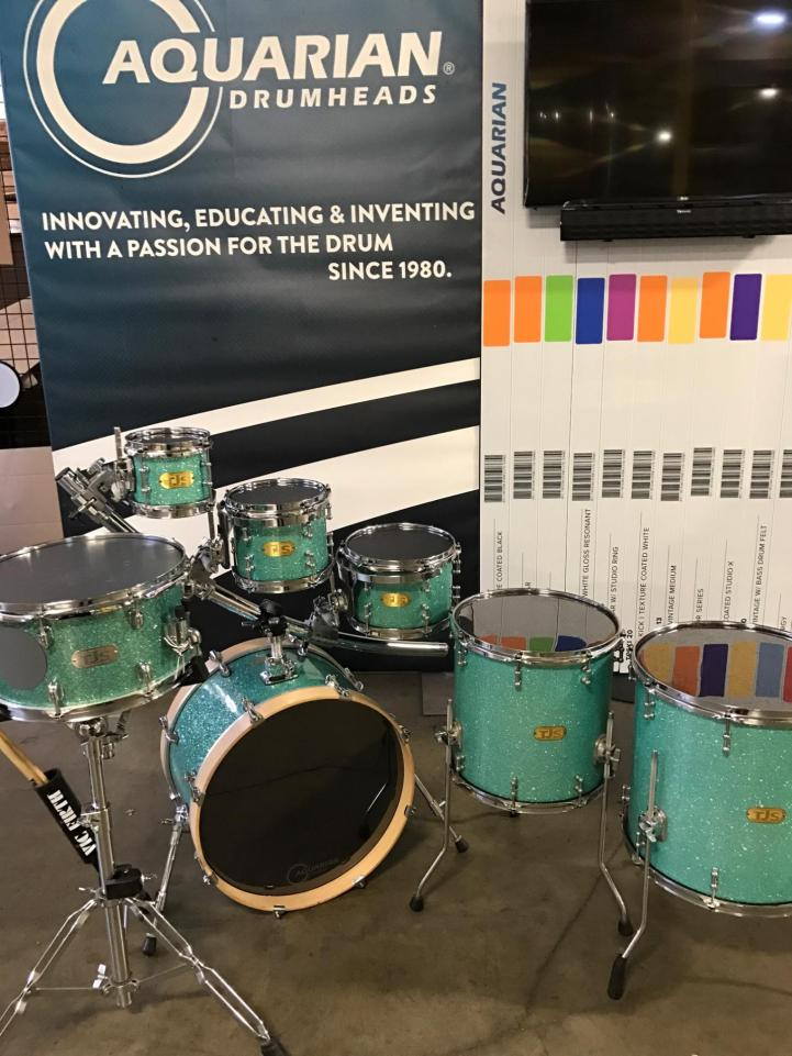 TJS Custom Drum Set in the Aquarian Drumheads booth at NAMM 2017. Aquarian Drumheads used TJS Custom Drums exclusively for demonstrations of their drumheads.