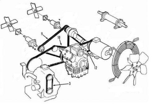 Belt set Thermo King RDII (Yanmar TK 3.88) ; replacement