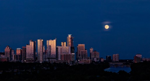 Austin Full Moon Skyline - Zilker Clubhouse