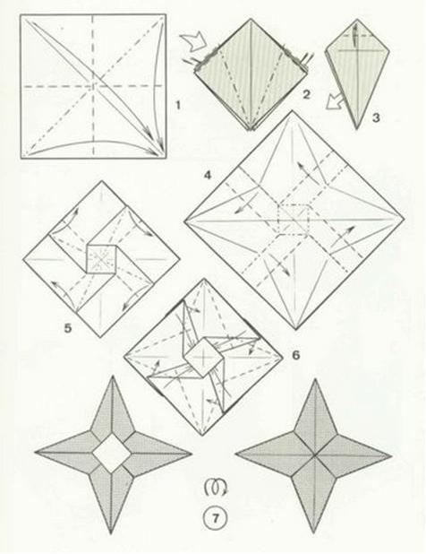 cara melipat origami shuriken atau origami bintang senjata untuk