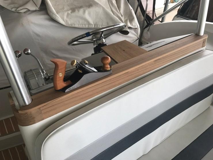 installed hardwood helm trim on a trawler