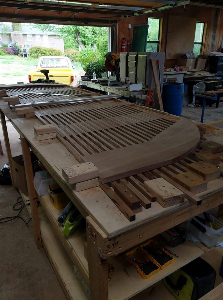 Mahogany slats set in place and secured