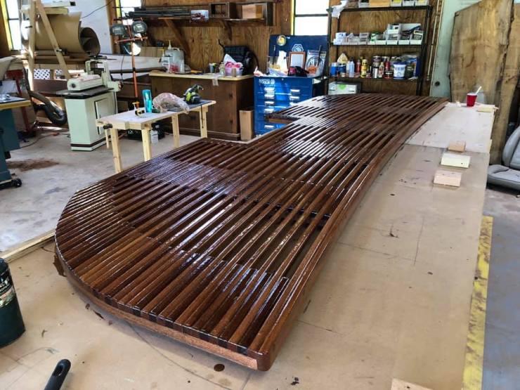 Epoxy and varnish coated sapele mahogany swim platform