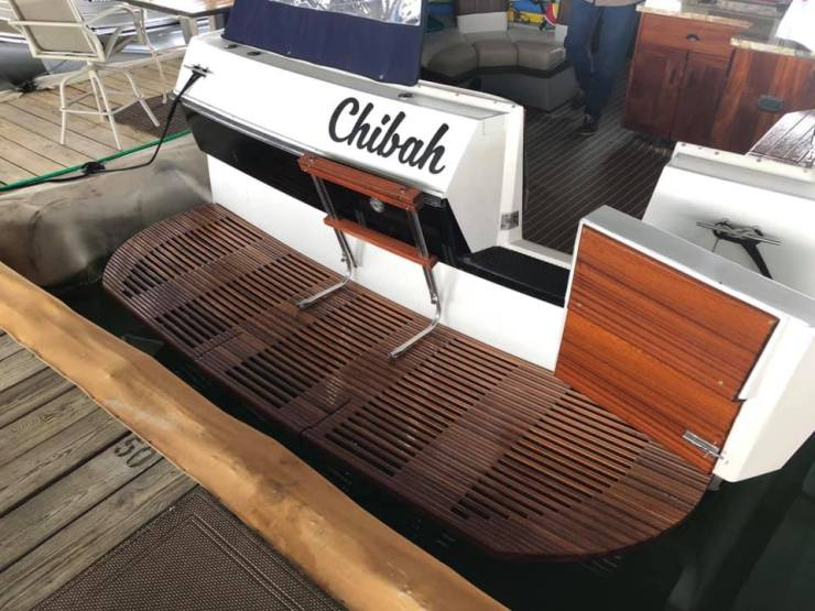 Regal Boat 'Chibah' sporting a custom & extended sapele mahogany swim deck